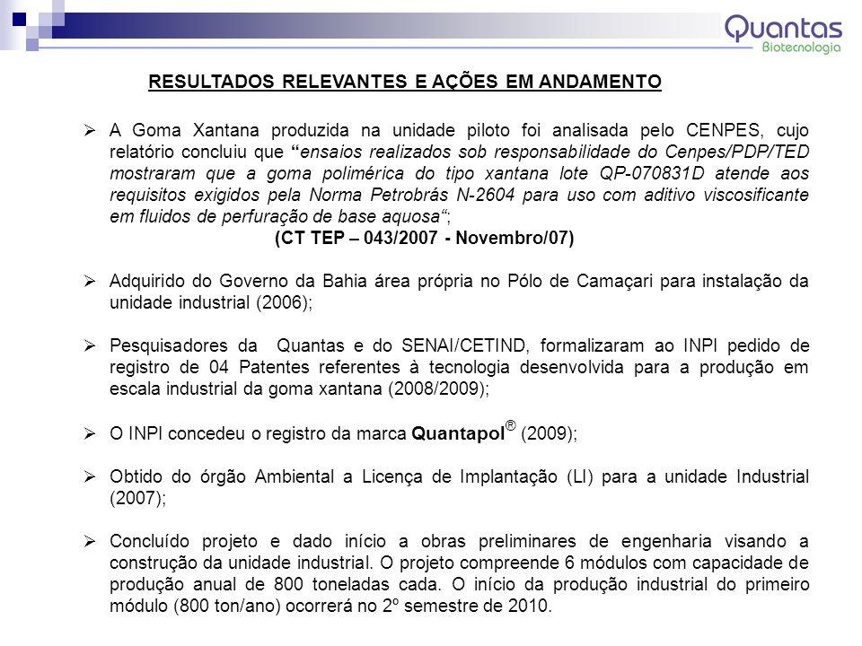 A Goma Xantana produzida na unidade piloto foi analisada pelo CENPES, cujo relatório concluiu que ensaios realizados sob responsabilidade do Cenpes/PD
