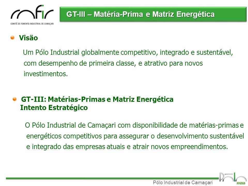 Pólo Industrial de Camaçari GT-III – Matéria-Prima e Matriz Energética Visão Um Pólo Industrial globalmente competitivo, integrado e sustentável, com