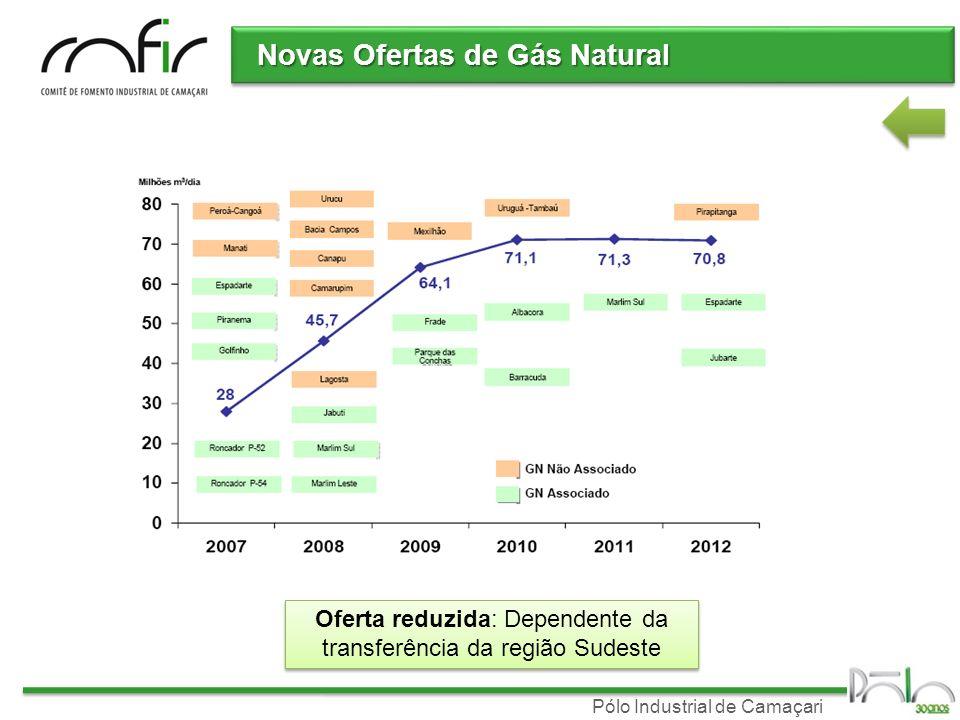 Pólo Industrial de Camaçari Oferta/demanda de Gás Natural Bahia Balanço oferta/demanda Acordo Petrobras/Bahiagás (2008-2012): 5,1 milhões m 3 /dia Firme inflexível3,5 milhões m 3 /dia Firme flexível0,5 milhões m 3 /dia Interruptível 1,1 milhões m 3 /dia Baseado em questões energéticas Firme inflexível3,5 milhões m 3 /dia Firme flexível0,5 milhões m 3 /dia Interruptível 1,1 milhões m 3 /dia Baseado em questões energéticas Demanda atual do Pólo Industrial: (ex-FAFEN) 3,8 milhões m 3 /dia Balanço: oferta-demanda (Bahiagás) Atual: Contingenciamento para o Pólo: 500 mil m 3 /dia combustível Futuro: Restrição ao crescimento Balanço: oferta-demanda (Bahiagás) Atual: Contingenciamento para o Pólo: 500 mil m 3 /dia combustível Futuro: Restrição ao crescimento
