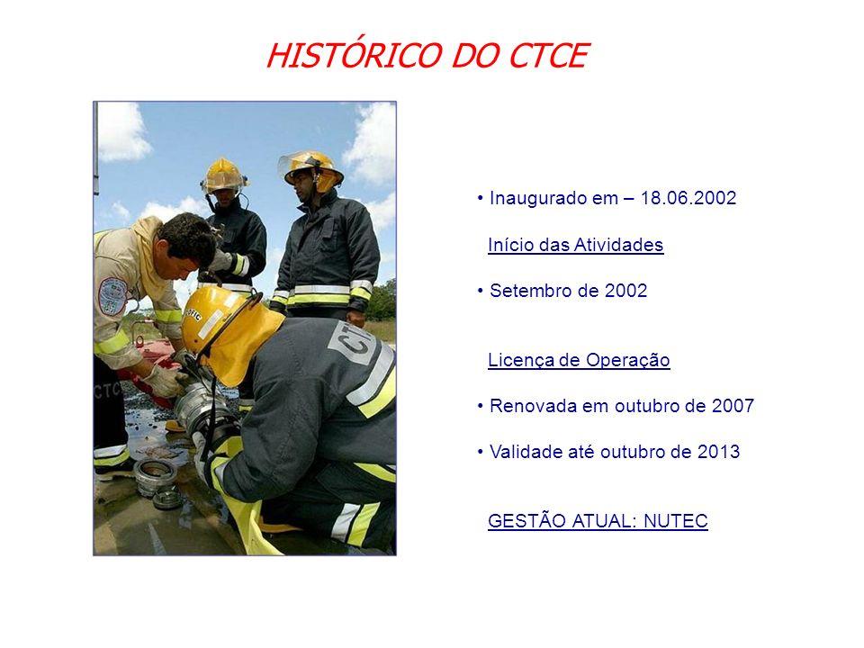 HISTÓRICO DO CTCE Inaugurado em – 18.06.2002 Início das Atividades Setembro de 2002 Licença de Operação Renovada em outubro de 2007 Validade até outub