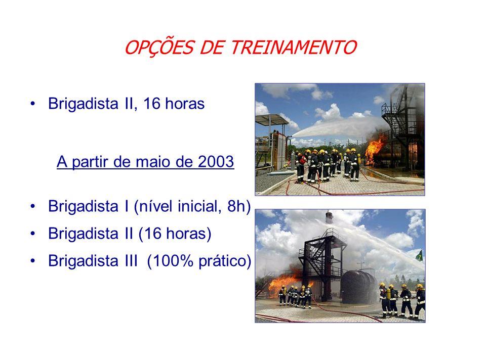 OPÇÕES DE TREINAMENTO Brigadista II, 16 horas A partir de maio de 2003 Brigadista I (nível inicial, 8h) Brigadista II (16 horas) Brigadista III (100%