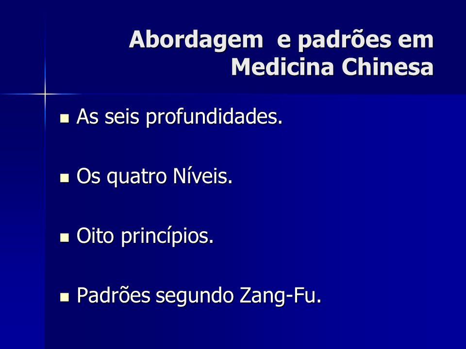 Abordagem e padrões em Medicina Chinesa As seis profundidades. As seis profundidades. Os quatro Níveis. Os quatro Níveis. Oito princípios. Oito princí