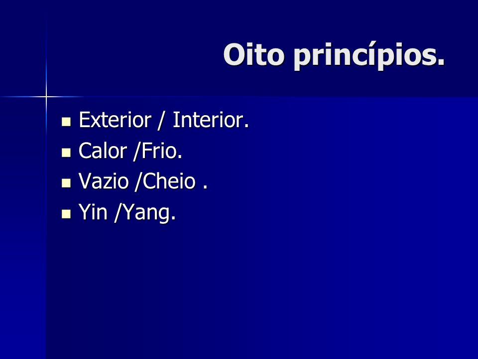 Oito princípios. Exterior / Interior. Exterior / Interior. Calor /Frio. Calor /Frio. Vazio /Cheio. Vazio /Cheio. Yin /Yang. Yin /Yang.
