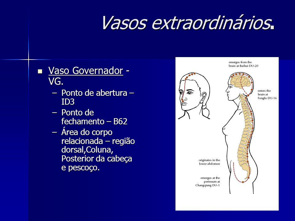 Vasos extraordinários. Vaso Governador - VG. Vaso Governador - VG. –Ponto de abertura – ID3 –Ponto de fechamento – B62 –Área do corpo relacionada – re