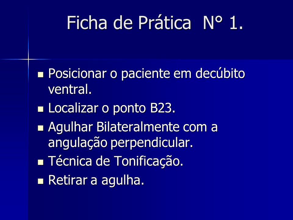 Ficha de Prática N° 1. Posicionar o paciente em decúbito ventral. Posicionar o paciente em decúbito ventral. Localizar o ponto B23. Localizar o ponto