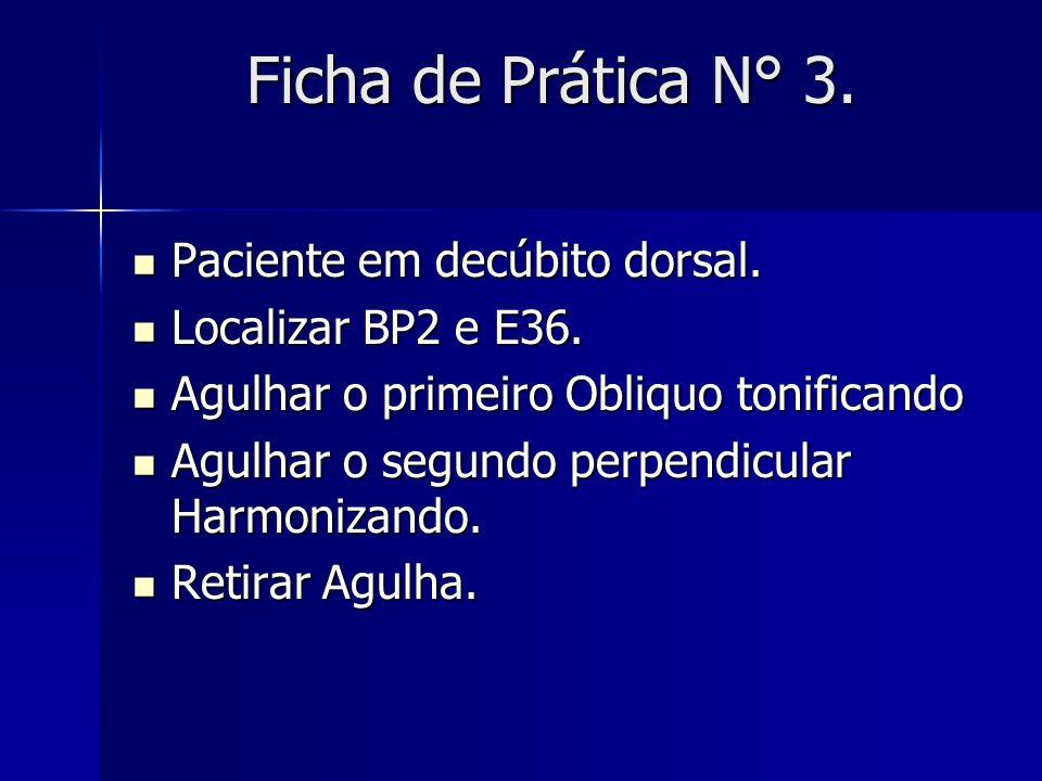 Ficha de Prática N° 3. Paciente em decúbito dorsal. Paciente em decúbito dorsal. Localizar BP2 e E36. Localizar BP2 e E36. Agulhar o primeiro Obliquo