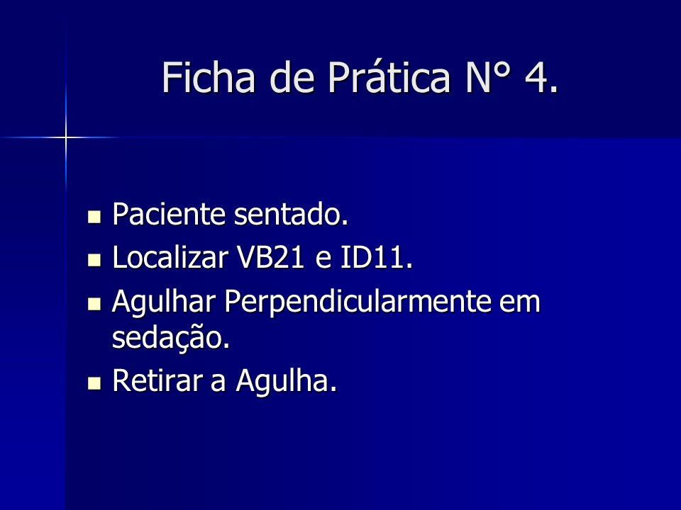 Ficha de Prática N° 4. Paciente sentado. Paciente sentado. Localizar VB21 e ID11. Localizar VB21 e ID11. Agulhar Perpendicularmente em sedação. Agulha