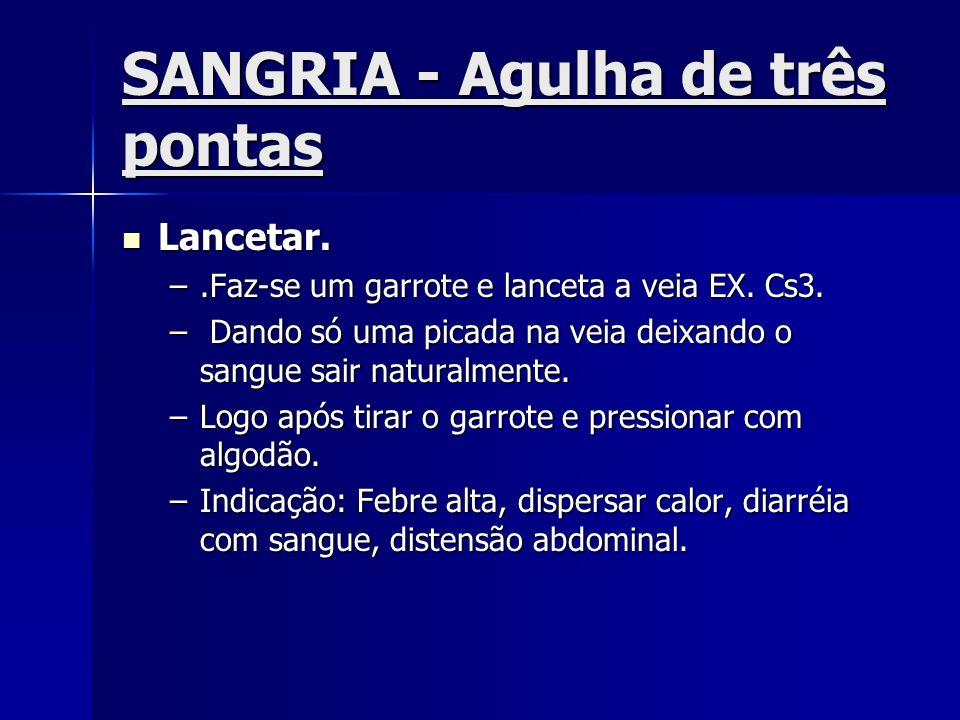 SANGRIA - Agulha de três pontas Lancetar. Lancetar. –.Faz-se um garrote e lanceta a veia EX. Cs3. – Dando só uma picada na veia deixando o sangue sair