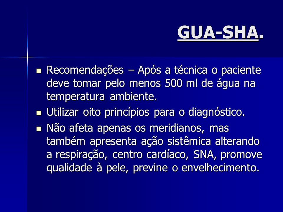 GUA-SHA. Recomendações – Após a técnica o paciente deve tomar pelo menos 500 ml de água na temperatura ambiente. Recomendações – Após a técnica o paci