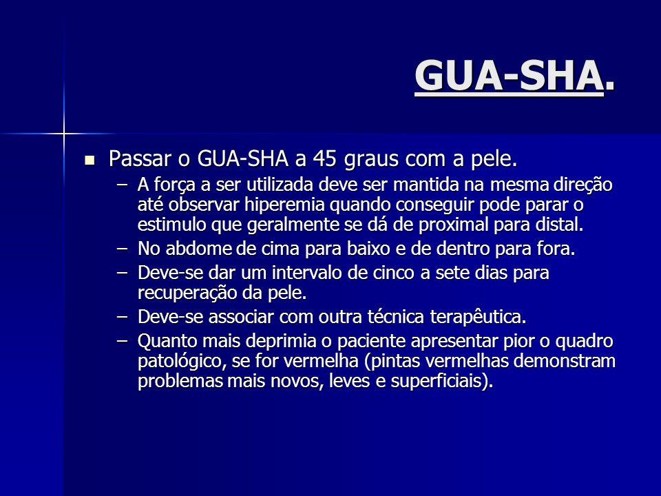 GUA-SHA. Passar o GUA-SHA a 45 graus com a pele. Passar o GUA-SHA a 45 graus com a pele. –A força a ser utilizada deve ser mantida na mesma direção at
