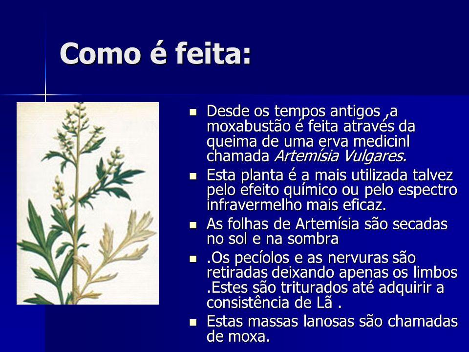 Como é feita: Desde os tempos antigos,a moxabustão é feita através da queima de uma erva medicinl chamada Artemísia Vulgares. Desde os tempos antigos,