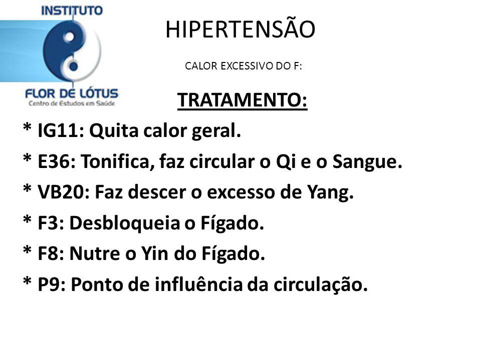 HIPERTENSÃO CALOR EXCESSIVO DO F: TRATAMENTO: * IG11: Quita calor geral. * E36: Tonifica, faz circular o Qi e o Sangue. * VB20: Faz descer o excesso d