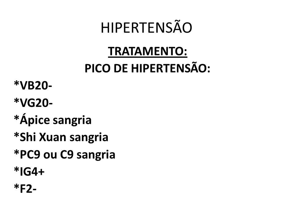 HIPERTENSÃO TRATAMENTO: PICO DE HIPERTENSÃO: *VB20- *VG20- *Ápice sangria *Shi Xuan sangria *PC9 ou C9 sangria *IG4+ *F2-
