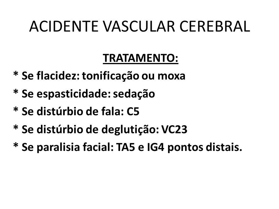 ACIDENTE VASCULAR CEREBRAL TRATAMENTO: * Se flacidez: tonificação ou moxa * Se espasticidade: sedação * Se distúrbio de fala: C5 * Se distúrbio de deg