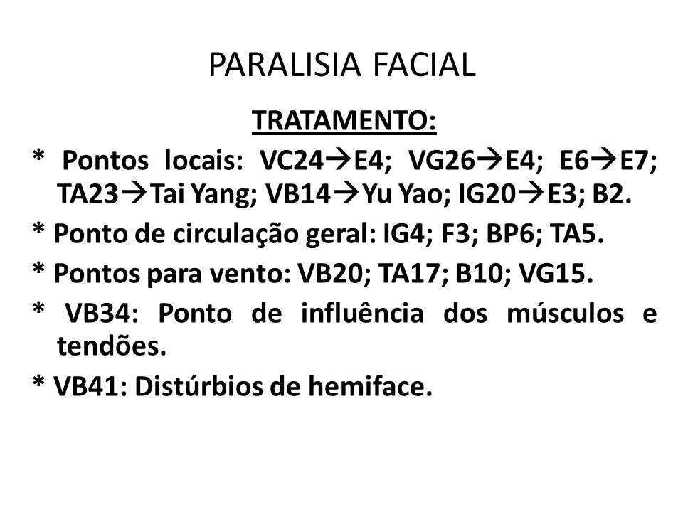PARALISIA FACIAL TRATAMENTO: * Pontos locais: VC24 E4; VG26 E4; E6 E7; TA23 Tai Yang; VB14 Yu Yao; IG20 E3; B2. * Ponto de circulação geral: IG4; F3;