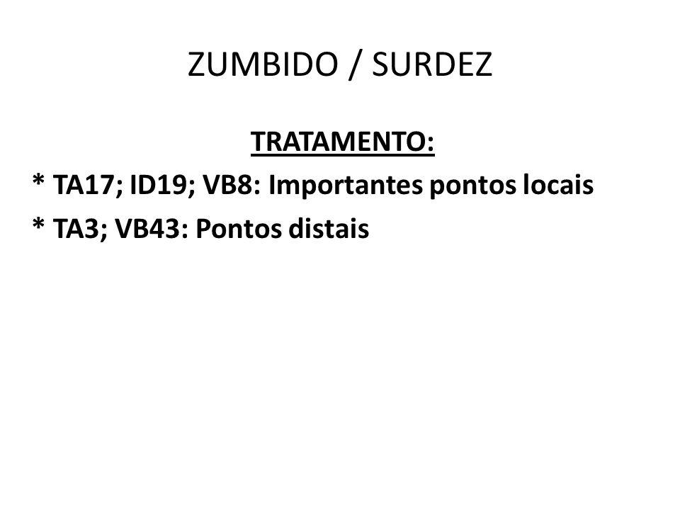 ZUMBIDO / SURDEZ TRATAMENTO: * TA17; ID19; VB8: Importantes pontos locais * TA3; VB43: Pontos distais