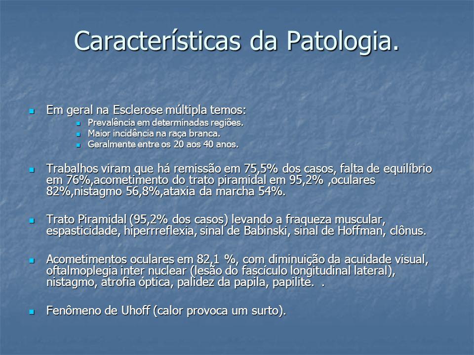 Características da Patologia.Falta de equilíbrio Falta de equilíbrio Ataxia.