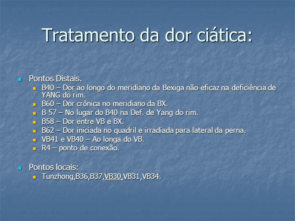 Tratamento da dor ciática: Pontos Distais. Pontos Distais. B40 – Dor ao longo do meridiano da Bexiga não eficaz na deficiência de YANG do rim. B40 – D