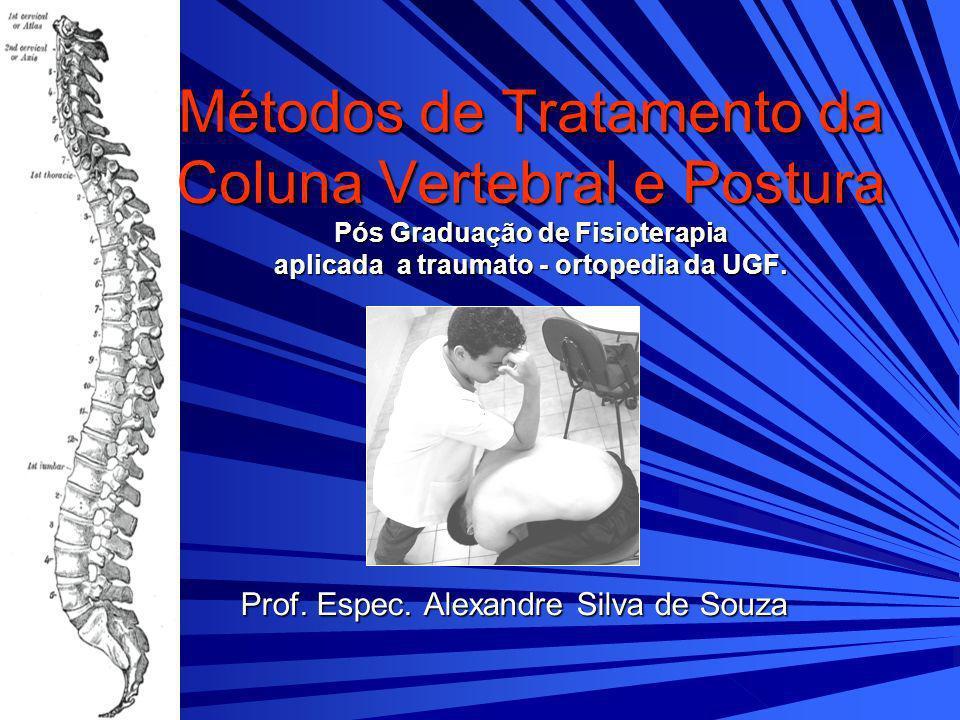 Métodos de Tratamento da Coluna Vertebral e Postura Pós Graduação de Fisioterapia aplicada a traumato - ortopedia da UGF. Prof. Espec. Alexandre Silva