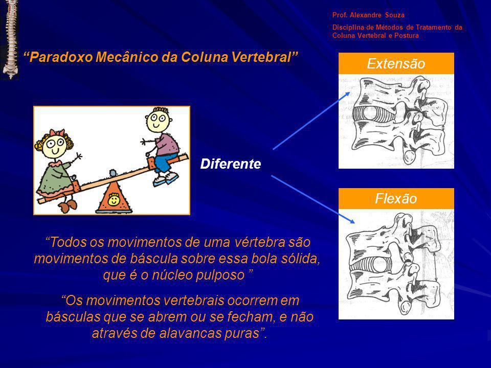 Diferente Extensão Flexão Paradoxo Mecânico da Coluna Vertebral Todos os movimentos de uma vértebra são movimentos de báscula sobre essa bola sólida,