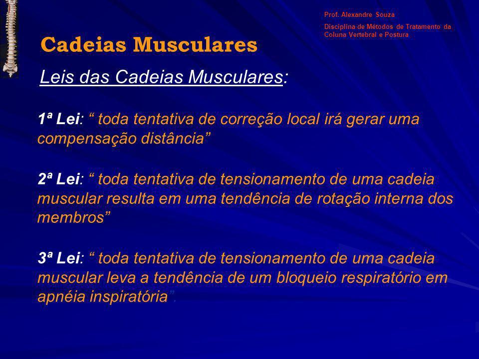 Cadeias Musculares Leis das Cadeias Musculares: 1ª Lei: toda tentativa de correção local irá gerar uma compensação distância 2ª Lei: toda tentativa de