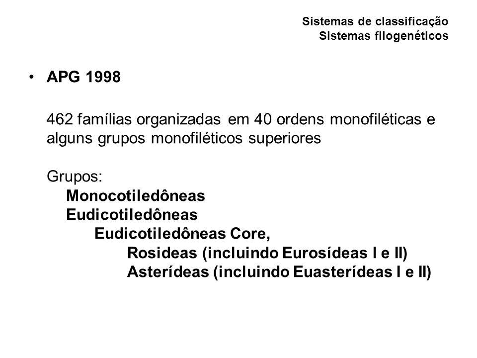 Sistemas de classificação Sistemas filogenéticos APG 1998 462 famílias organizadas em 40 ordens monofiléticas e alguns grupos monofiléticos superiores Grupos: Monocotiledôneas Eudicotiledôneas Eudicotiledôneas Core, Rosideas (incluindo Eurosídeas I e II) Asterídeas (incluindo Euasterídeas I e II)