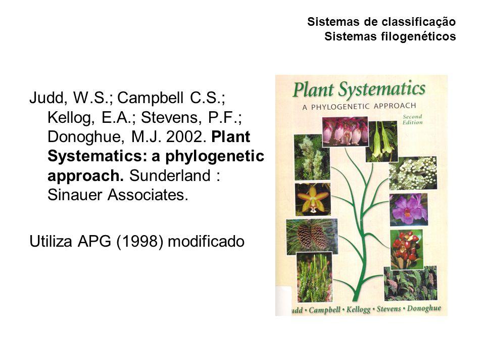 Sistemas de classificação Sistemas filogenéticos Judd, W.S.; Campbell C.S.; Kellog, E.A.; Stevens, P.F.; Donoghue, M.J. 2002. Plant Systematics: a phy
