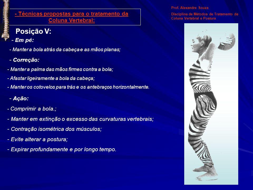 Posição V: - Em pé: - Manter a bola atrás da cabeça e as mãos planas; Prof. Alexandre Souza Disciplina de Métodos de Tratamento da Coluna Vertebral e