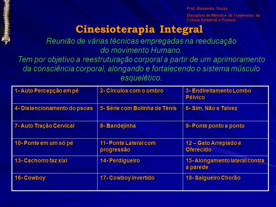Cinesioterapia Integral Reunião de várias técnicas empregadas na reeducação do movimento Humano. Tem por objetivo a reestruturação corporal a partir d