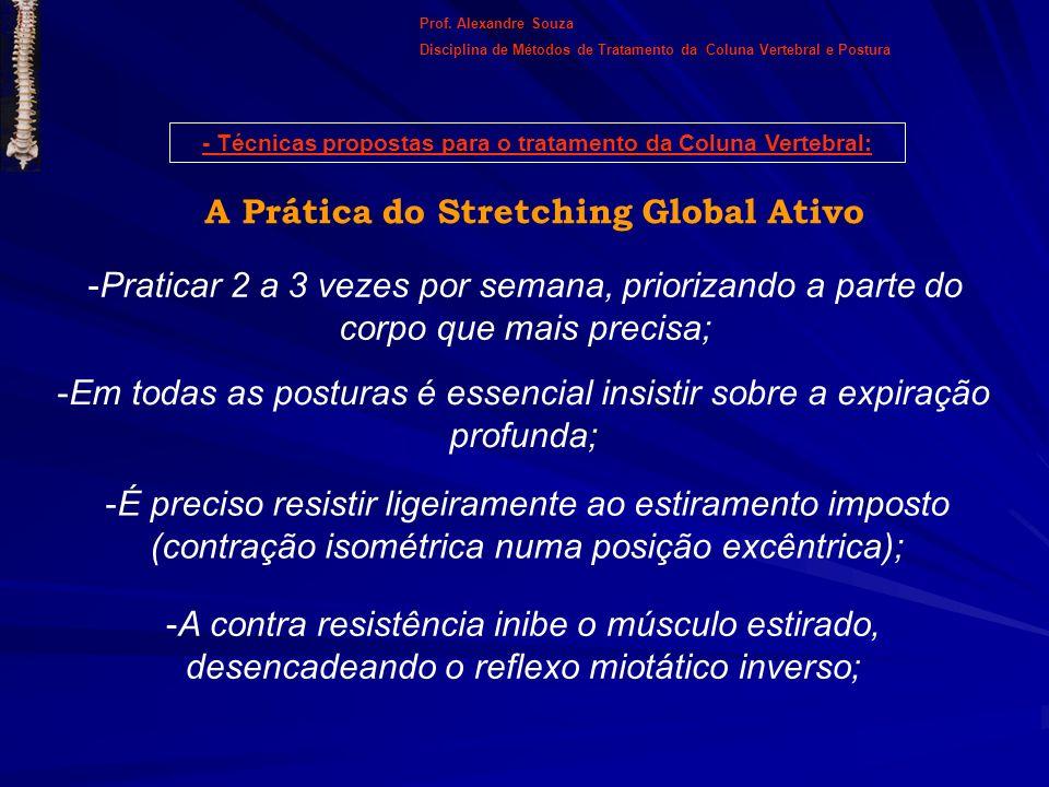 A Prática do Stretching Global Ativo -Praticar 2 a 3 vezes por semana, priorizando a parte do corpo que mais precisa; -Em todas as posturas é essencia