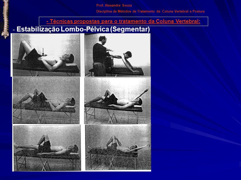 - Técnicas propostas para o tratamento da Coluna Vertebral: Prof. Alexandre Souza Disciplina de Métodos de Tratamento da Coluna Vertebral e Postura -