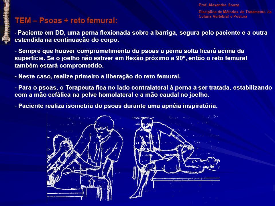 TEM – Psoas + reto femural: - Paciente em DD, uma perna flexionada sobre a barriga, segura pelo paciente e a outra estendida na continuação do corpo.