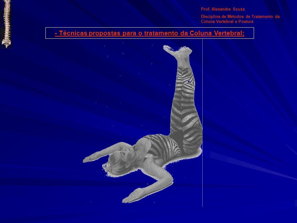 Prof. Alexandre Souza Disciplina de Métodos de Tratamento da Coluna Vertebral e Postura - Técnicas propostas para o tratamento da Coluna Vertebral: