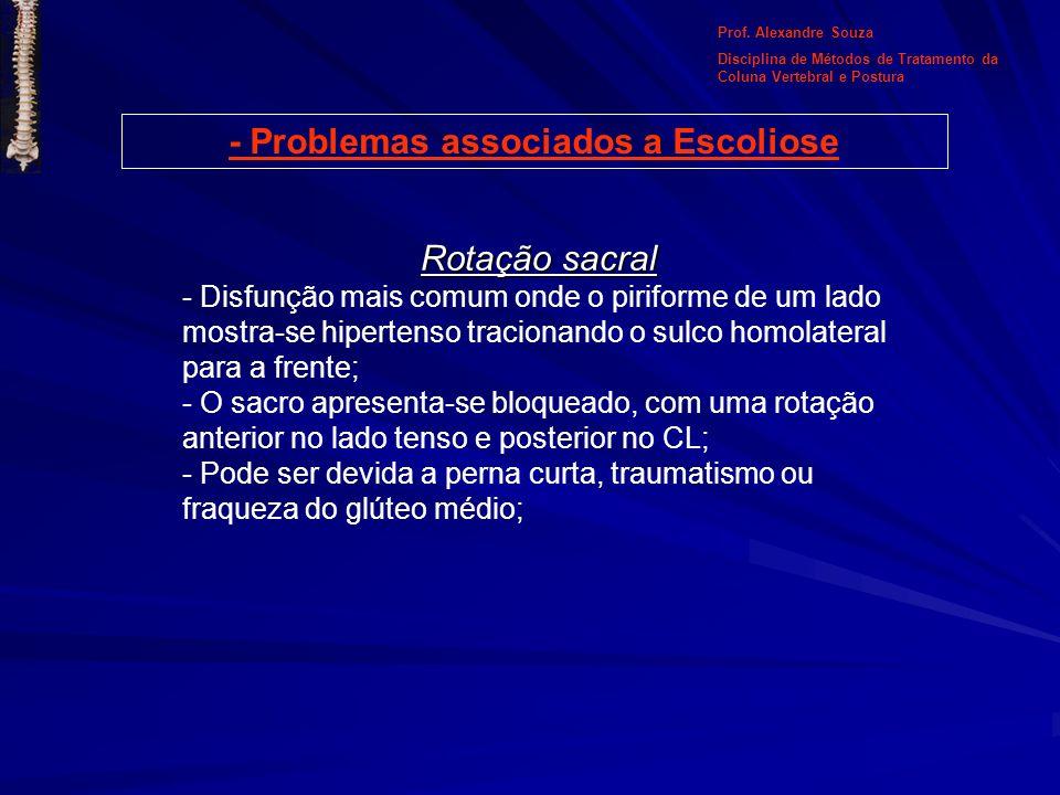 - Problemas associados a Escoliose Rotação sacral - Disfunção mais comum onde o piriforme de um lado mostra-se hipertenso tracionando o sulco homolate