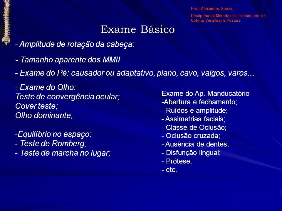 - Amplitude de rotação da cabeça: Prof. Alexandre Souza Disciplina de Métodos de Tratamento da Coluna Vertebral e Postura - Tamanho aparente dos MMII