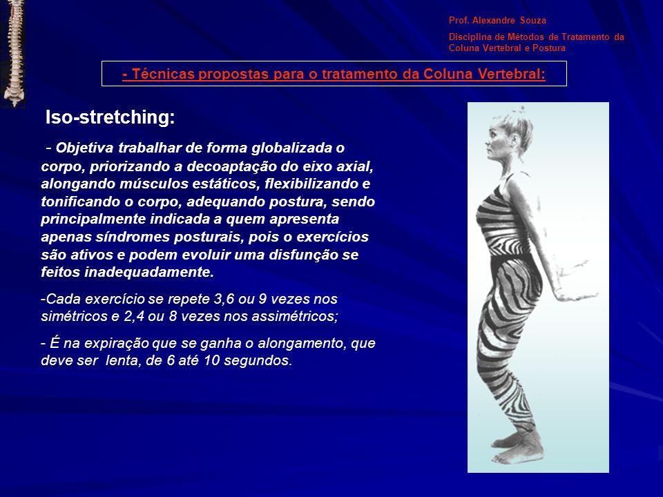 Iso-stretching: - Objetiva trabalhar de forma globalizada o corpo, priorizando a decoaptação do eixo axial, alongando músculos estáticos, flexibilizan