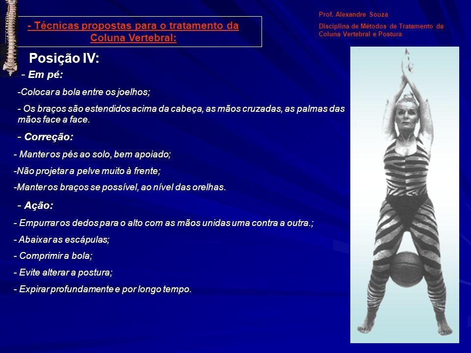 Posição IV: - Em pé: -Colocar a bola entre os joelhos; - Os braços são estendidos acima da cabeça, as mãos cruzadas, as palmas das mãos face a face. P