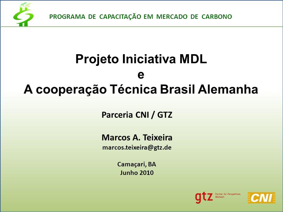PROGRAMA DE CAPACITAÇÃO EM MERCADO DE CARBONO Parceria CNI / GTZ Marcos A.
