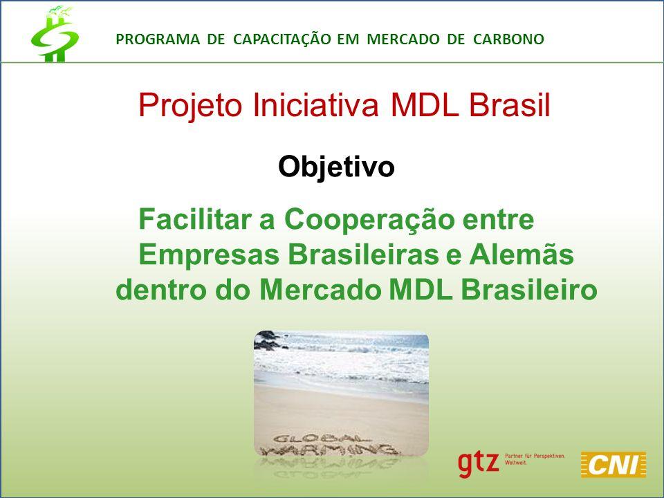 PROGRAMA DE CAPACITAÇÃO EM MERCADO DE CARBONO Projeto Iniciativa MDL Brasil Objetivo Facilitar a Cooperação entre Empresas Brasileiras e Alemãs dentro do Mercado MDL Brasileiro