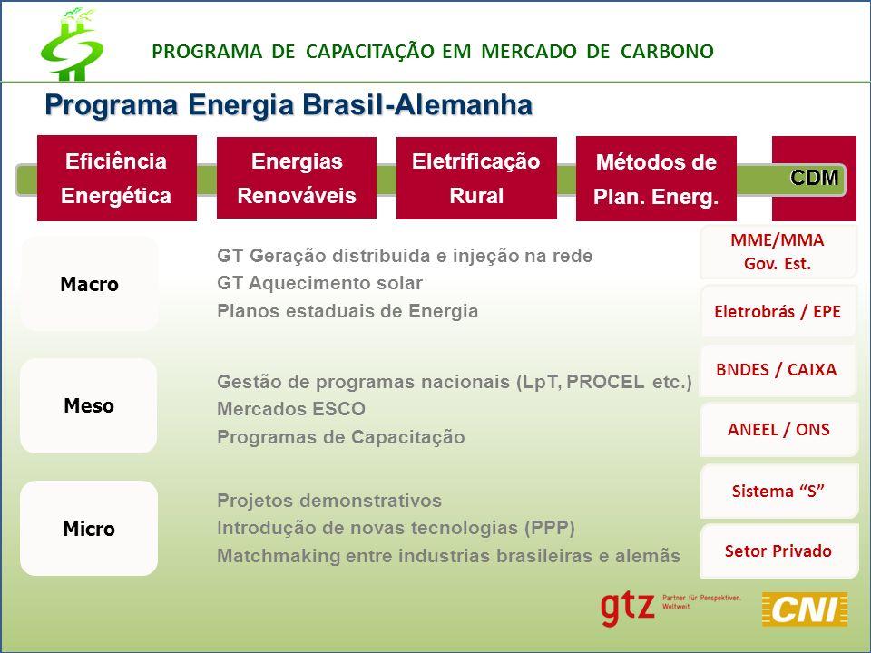 PROGRAMA DE CAPACITAÇÃO EM MERCADO DE CARBONO CDM Programa Energia Brasil-Alemanha Energias Renováveis Eficiência Energética Métodos de Plan.
