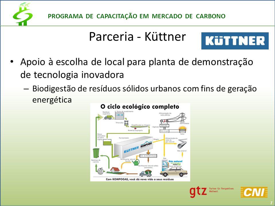 PROGRAMA DE CAPACITAÇÃO EM MERCADO DE CARBONO Parceria - Küttner Apoio à escolha de local para planta de demonstração de tecnologia inovadora – Biodigestão de resíduos sólidos urbanos com fins de geração energética 7