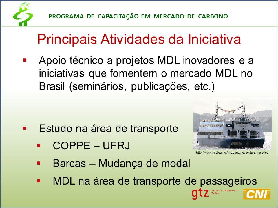 PROGRAMA DE CAPACITAÇÃO EM MERCADO DE CARBONO Principais Atividades da Iniciativa Apoio técnico a projetos MDL inovadores e a iniciativas que fomentem o mercado MDL no Brasil (seminários, publicações, etc.) Estudo na área de transporte COPPE – UFRJ Barcas – Mudança de modal MDL na área de transporte de passageiros http://www.intelog.net/Imagens/novocataramario.jpg