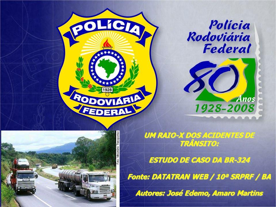 UM RAIO-X DOS ACIDENTES DE TRÂNSITO: ESTUDO DE CASO DA BR-324 Fonte: DATATRAN WEB / 10ª SRPRF / BA Autores: José Edemo, Amaro Martins