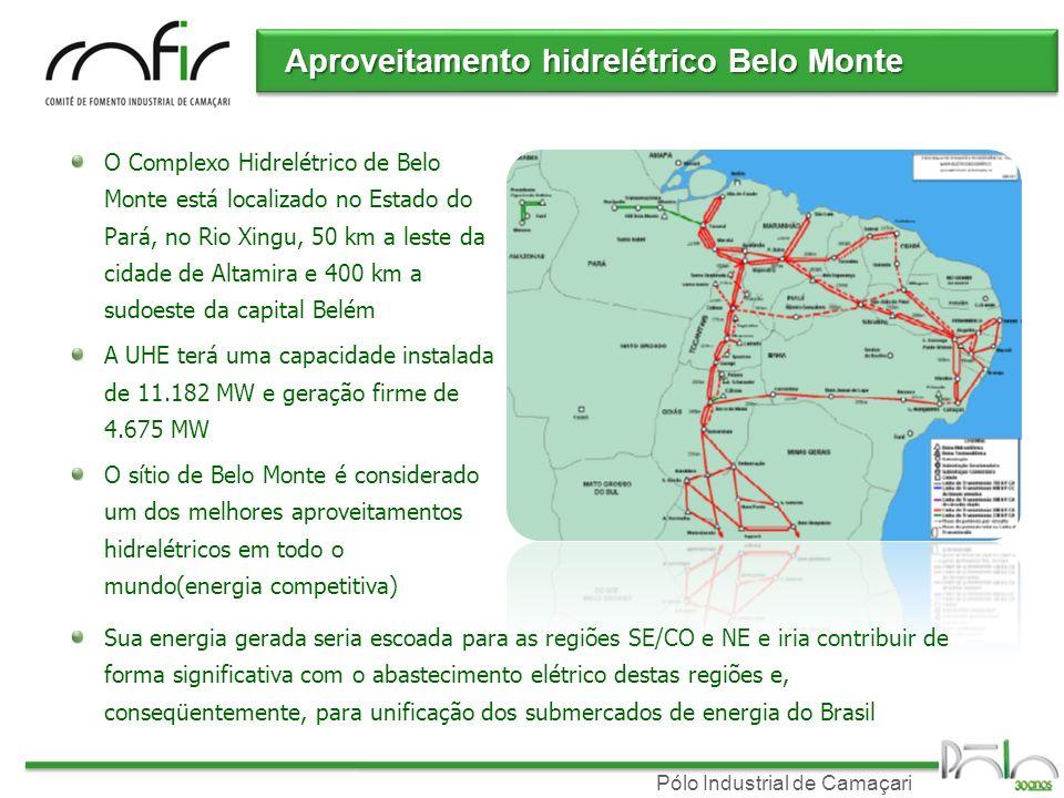 Pólo Industrial de Camaçari Aproveitamento hidrelétrico Belo Monte O Complexo Hidrelétrico de Belo Monte está localizado no Estado do Pará, no Rio Xingu, 50 km a leste da cidade de Altamira e 400 km a sudoeste da capital Belém A UHE terá uma capacidade instalada de 11.182 MW e geração firme de 4.675 MW O sítio de Belo Monte é considerado um dos melhores aproveitamentos hidrelétricos em todo o mundo(energia competitiva) Sua energia gerada seria escoada para as regiões SE/CO e NE e iria contribuir de forma significativa com o abastecimento elétrico destas regiões e, conseqüentemente, para unificação dos submercados de energia do Brasil