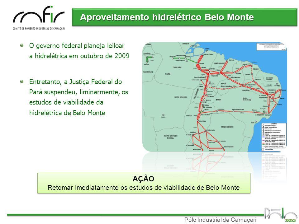 Pólo Industrial de Camaçari Aproveitamento hidrelétrico Belo Monte O governo federal planeja leiloar a hidrelétrica em outubro de 2009 Entretanto, a Justiça Federal do Pará suspendeu, liminarmente, os estudos de viabilidade da hidrelétrica de Belo Monte AÇÃO Retomar imediatamente os estudos de viabilidade de Belo Monte AÇÃO Retomar imediatamente os estudos de viabilidade de Belo Monte