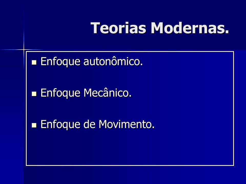 Teorias Modernas. Enfoque autonômico. Enfoque autonômico. Enfoque Mecânico. Enfoque Mecânico. Enfoque de Movimento. Enfoque de Movimento.