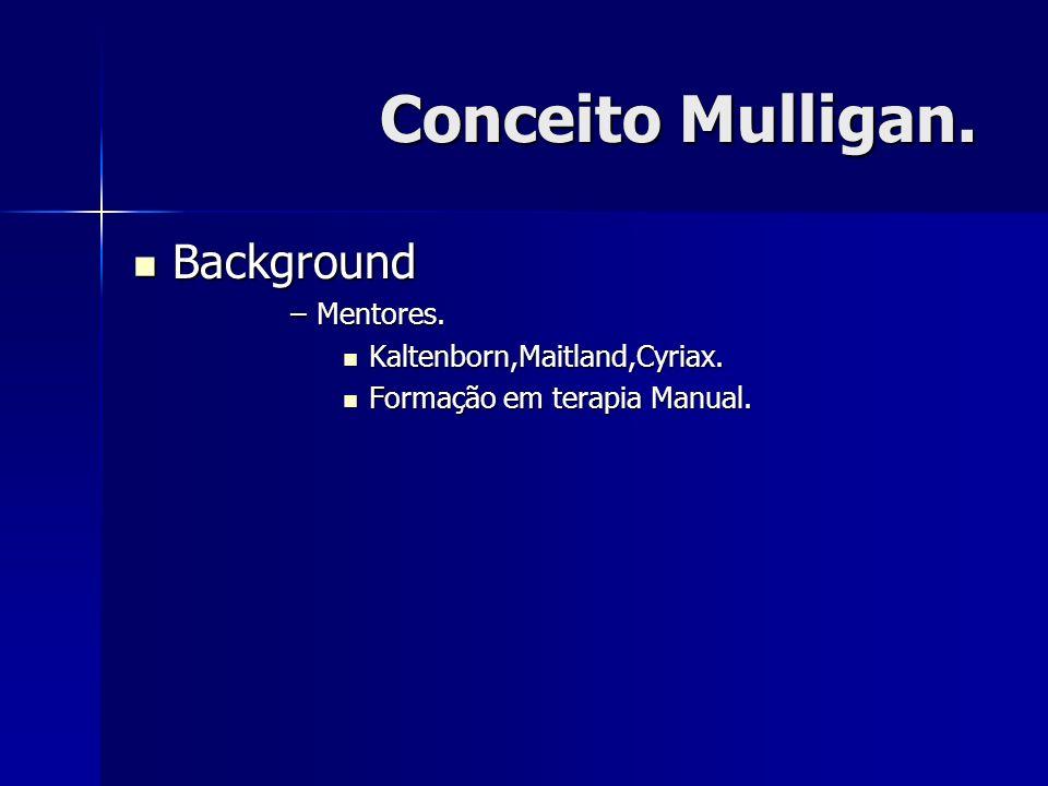Conceito Mulligan. Background Background –Mentores. Kaltenborn,Maitland,Cyriax. Kaltenborn,Maitland,Cyriax. Formação em terapia Manual. Formação em te