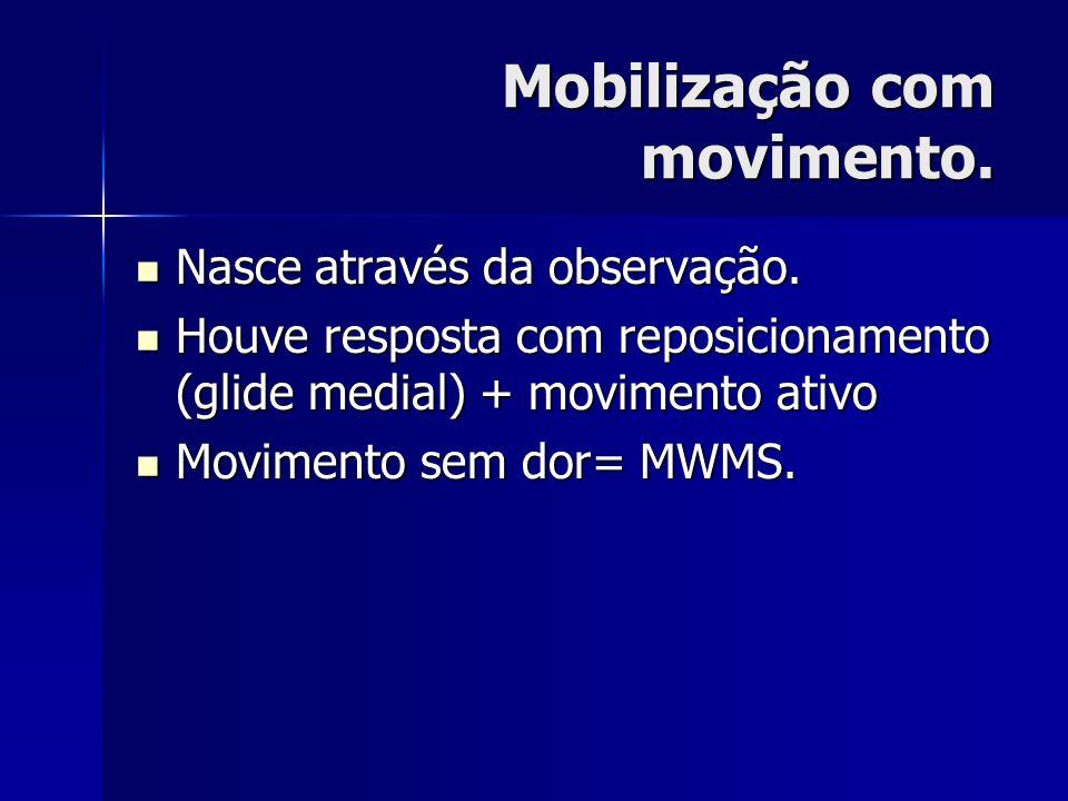 Mobilização com movimento. Nasce através da observação. Nasce através da observação. Houve resposta com reposicionamento (glide medial) + movimento at
