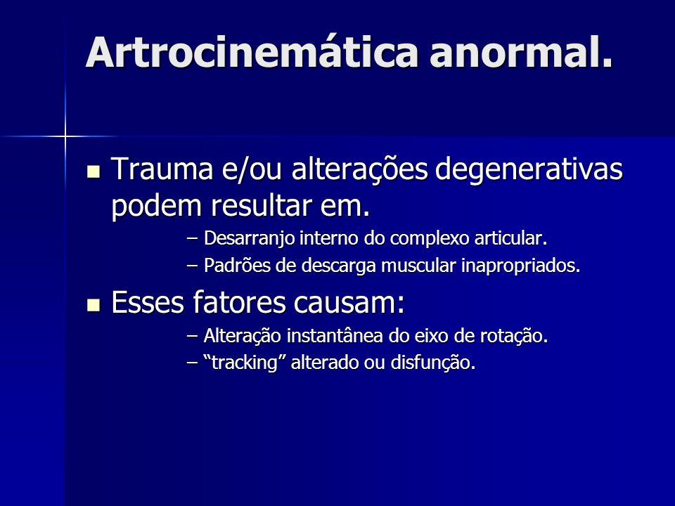 Artrocinemática anormal. Trauma e/ou alterações degenerativas podem resultar em. Trauma e/ou alterações degenerativas podem resultar em. –Desarranjo i