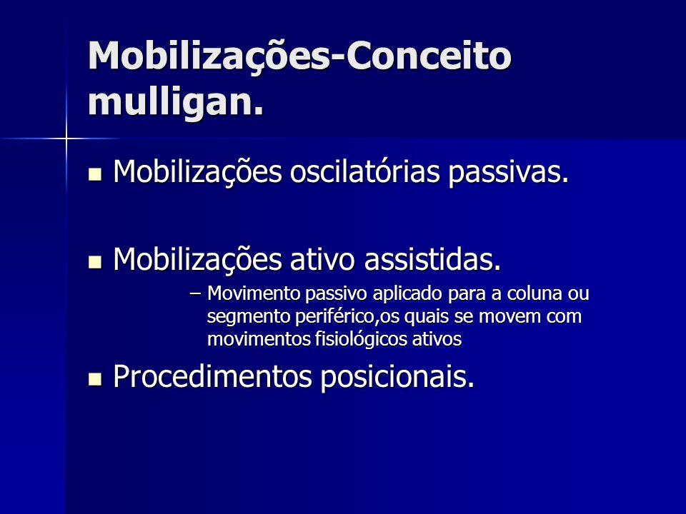 Mobilizações-Conceito mulligan. Mobilizações-Conceito mulligan. Mobilizações oscilatórias passivas. Mobilizações oscilatórias passivas. Mobilizações a
